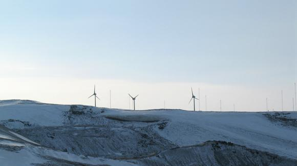 View of Ross Islands three wind turbines 2