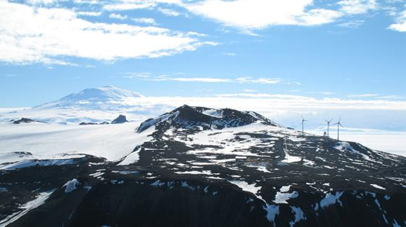Ross Island wind turbines and Mt Erebus