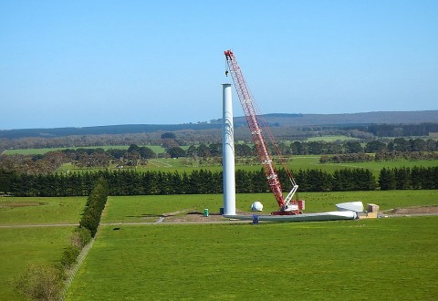 037 Wind Mt Mercer Turbine tower under construction